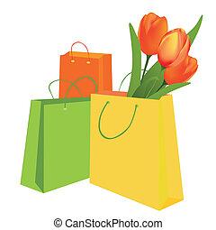 チューリップ, 袋, 買い物