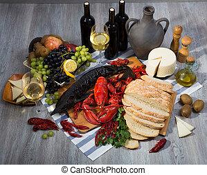 チーズ, まだ, シーフード, ワイン, 料理, bread, 生活