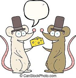 チーズ, マウス, スピーチ泡, 漫画