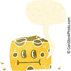 チーズ, 漫画, スピーチ, レトロ, 泡