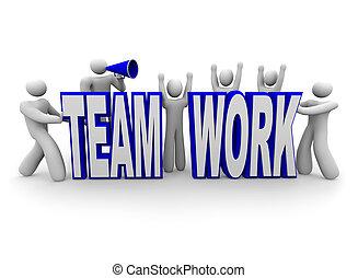 チームワーク, チーム, 単語, 建造しなさい, 人々