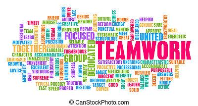 チームワーク, 概念, 単語, 雲