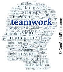 チームワーク, 概念, 単語, 雲, タグ
