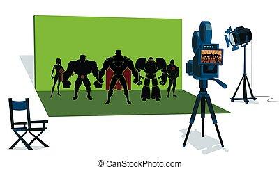 チーム, superhero, 映画セット