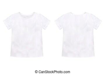 ティー, tシャツ, テンプレート, 男女両様である, バックグラウンド。, 白, 子供, mockup, 隔離された