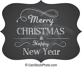 テキスト, クリスマス, 黒板, 背景, 優雅である