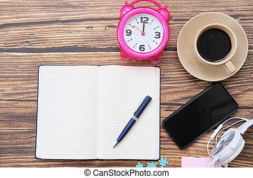 テキスト, テーブル, スペース, 光景, オフィス, 背景, 上