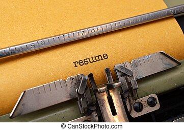 テキスト, 履歴書, タイプライター