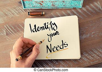 テキスト, 書かれた, 識別しなさい, あなたの, 必要性