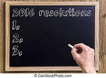 テキスト, 概説された, -, 黒板, 新しい, resolutions, 2016, 3d
