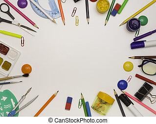 テキスト, 背景, 上, ビュー。, オフィス, 形態, フレーム, 無料で, スペース, 白, 供給