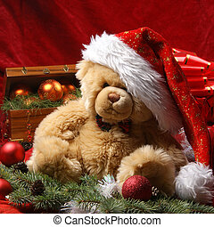 テディベア, クリスマス, 原料, 魅力的, 背景, 他