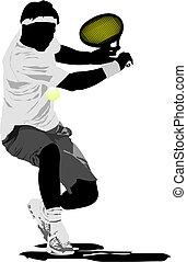 テニス, ベクトル, player., イラスト