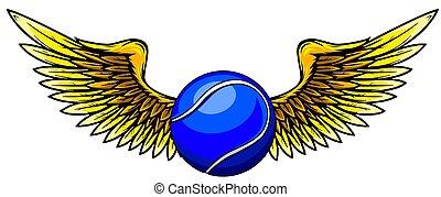 テニス, 翼, style., 定型, イラスト, ボール, ベクトル, 入れ墨