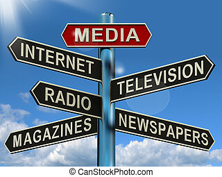 テレビ, 媒体, 提示, 雑誌, インターネット, 新聞, 道標