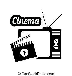 テレビ, 映画館, クラッパー, 型, 映画, 家