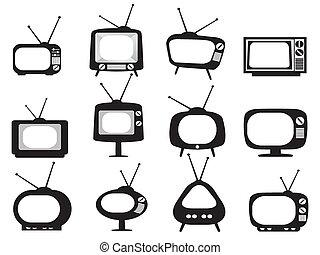 テレビ, 黒, レトロ, アイコン