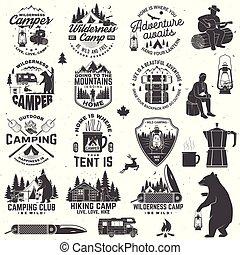 テント, ありなさい, デザイン, ロゴ, 森林, 野生, キャンプファイヤー, 熊, シルエット, 切手, 印刷, 荒野, ナイフ, 概念, patch., vector., バッジ, ∥あるいは∥, free., トレーラー, camp., 型, 活版印刷, ポケット, ワイシャツ