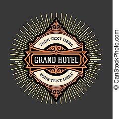 テンプレート, ホテル, ロゴ, 型, resta