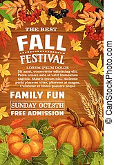 テンプレート, 収穫, 秋, 秋, ポスター, 祝祭