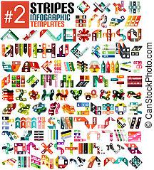 テンプレート, 巨大, セット, infographic, ストライプ, #2