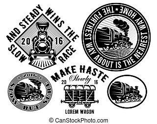 テンプレート, 機関車, セット, ワゴン, 列車, 型, logotype, イラスト, topic, レトロ, 鉄道