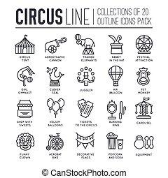 テンプレート, 薄くなりなさい, アウトライン, アイコン, シンボル, 平らなライン, ロゴ, 品質, シンボル, サーカス, コレクション, set., pictogram, 現代, ショー, アイコン, 優れた, 祝祭, pack., 線である
