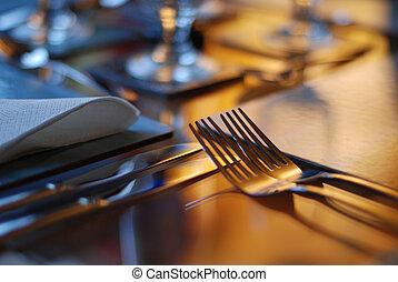 テーブル, セット, 食事をする