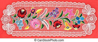 テーブル, ハンガリー人, 刺繍, 布