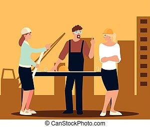 テーブル, 場所, 女性, 建築家, 建設, 建築者, プロジェクト, 青写真