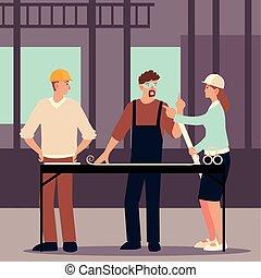 テーブル, 場所, 建築家, 建設, 建築者, プロジェクト, 青写真