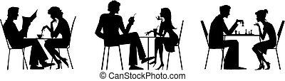 テーブル, 恋人, シルエット
