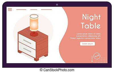 テーブル, 旗, 等大, ベクトル, 光景, 夜