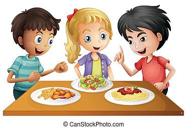 テーブル, 食物, 子供, 監視