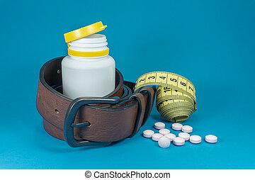 テープ, 丸薬, 概念的な イメージ, 測定, ベルト