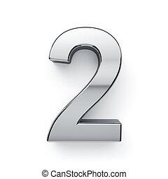 ディジット, render, -, metalic, 2, simbol, 3d