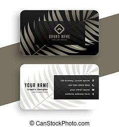 デザイン, すてきである, 葉, 自然, カード, テンプレート, ビジネス