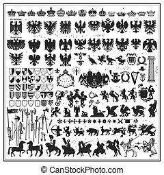 デザイン, シルエット, heraldic