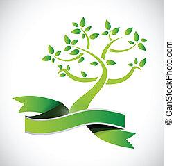 デザイン, リボン, 木, 緑, イラスト