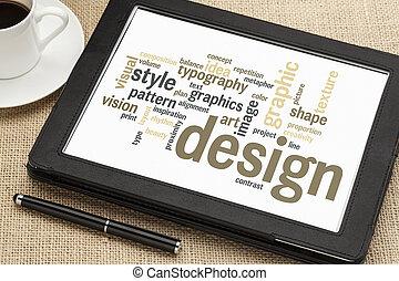 デザイン, 単語, 雲, グラフィック