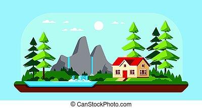 デザイン, 家, 家族, illustration., 平ら, コテッジ, 森林