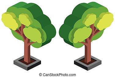 デザイン, 緑の木, 3d