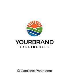 デザイン, 農地, 牧草地, 太陽, イラスト, テンプレート, logo., ロゴ, 円, 農業, template.