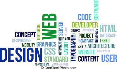 デザイン, -, 雲, 単語, 網