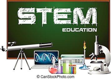 デザイン, equipments, 科学, ポスター, 茎, 教育