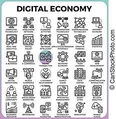 デジタル, 概念, 経済, アイコン