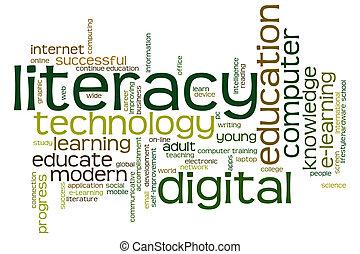 デジタル, 雲, 読み書き能力, 単語