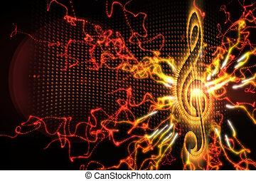 デジタル, 音楽, 背景, 発生させる