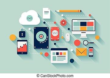 データ, イラスト, 概念, 貯蔵
