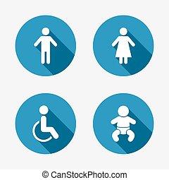 トイレ, wc, 女性, icons., 人間, マレ, ∥あるいは∥, signs.